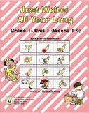 Daily 1st Grade Writing Lessons, Activities, Grammar - Unit 1 - {CCSS Aligned}