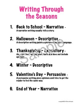 Writing - Beg. of Year, Halloween, Thanksgiving, Winter, Valentines, End of Year