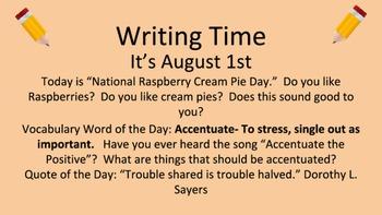 Writing Time Slides and Vocabulary Bundle