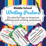 Middle School English Writing Posters - 20 posters with editable templates
