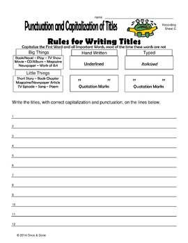 Writing Titles, Punctuation and Capitalization Rules
