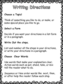 Writing To Explain: Directions