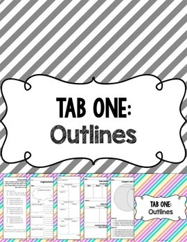 Writing Tools Notebook in Pastel Stripes (Gray and White Version Included)
