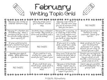 Writing Topic Grid-FEBRUARY