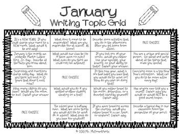 Writing Topic Grid-JANUARY