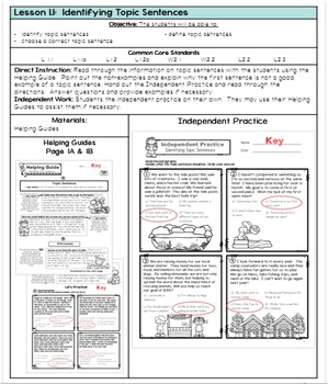 Writing Topic Sentences - Lessons with Activity Pages, Lesson Plans, and Keys