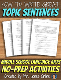 Writing Topic Sentences: Persuasive Essay Activity