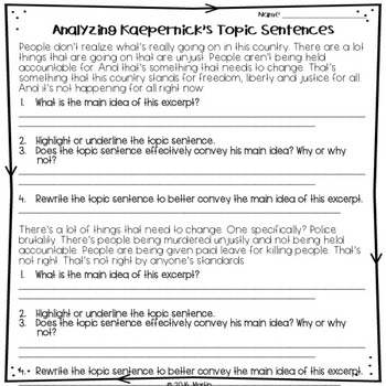 FREEBIE! Writing Topic Sentences with Supporting Details Using Racial Issues