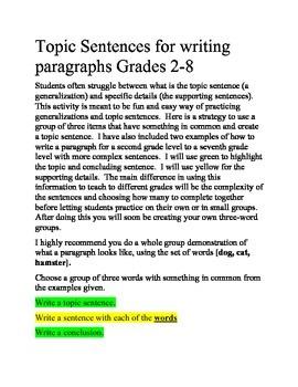 Writing Topic Sentences for a Paragraph Grades 2-8