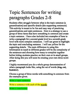Writing Topic Sentences for a Paragraph Grades 2-8