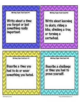 Writing Topic Task Cards / Journal Prompts