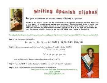 Sílabas y letras/ Writing & Tracing Spanish Syllables and letters