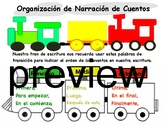 Writing Train Beginning Middle End with Transition Words Spanish version TC