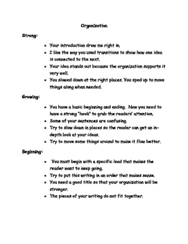 Writing Traits: Comments for Teachers