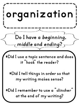 Writing Traits Posters in Basic Black and White, with Student Bookmarks