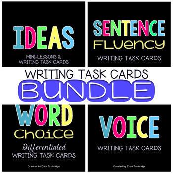 Writing Traits Task Card BUNDLE {Ideas, Word Choice, Sentence Fluency, Voice}