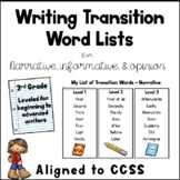 Writing Transition Word List - 3rd Grade - Opinion - Informative - Narrative