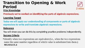 Writing & Translating Algebraic Expressions Lesson 1