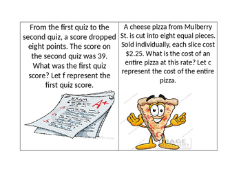 Writing Two-Step Equations Task Cards