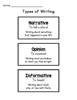 Writing Types Sort (Narrative, Opinion, Informative)