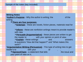 Writing Types and Purpose PowerPoint with cloze notes