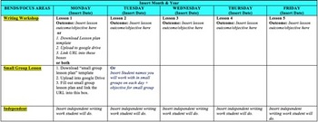 Writing Unit Calendar