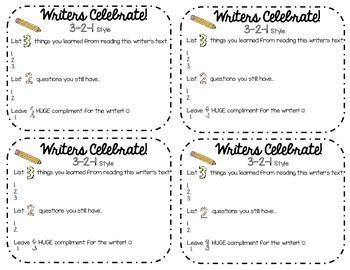 Writing Unit Celebration Cards