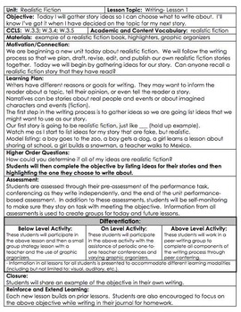 Writing Unit Realistic Fiction Gr 3 COMMON CORE *Danielson* with DIFFERENTIATION