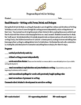 Writing Units of Study First Grade Parent Progress Report Bundle