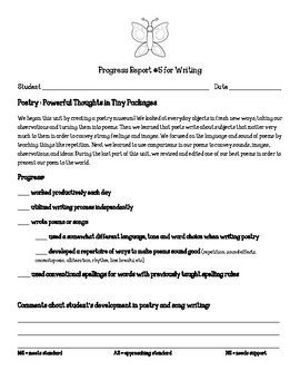 Writing Units of Study Poetry: Powerful Thoughts Parent Progress Report