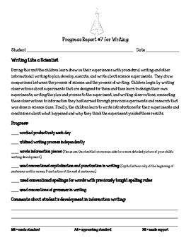 Writing Units of Study Writing Like a Scientist Parent Progress Report