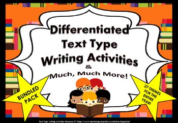 Text-Types Bundle-Pack of Differentiated Writing Tasks For Entire School Yr!!!