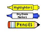 Writing Utensil Labels