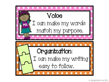 Writing VOICES Bulletin Board Headers and Goal  Cards with CCSS