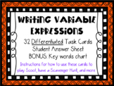 Writing Variable Expressions Differentiated Math Task Card