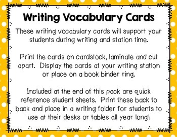 Writing Vocabulary Cards {Back to School}