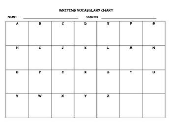 Writing Vocabulary Chart