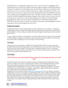 Writing, Vocabulary & Literacy in MS Mathematics: Circles