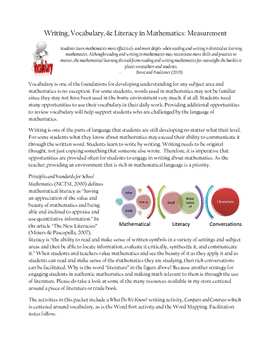 Writing, Vocabulary & Literacy in Mathematics: Measurement (Primary)