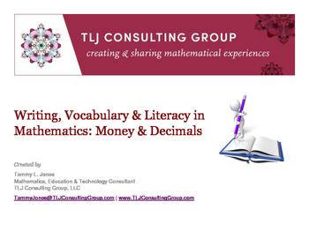 Writing, Vocabulary & Literacy in Mathematics: Money & Decimals