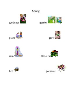 Writing Vocabulary word/picture chart