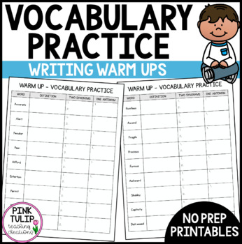 Writing Warm Up Activity - Vocabulary Practice