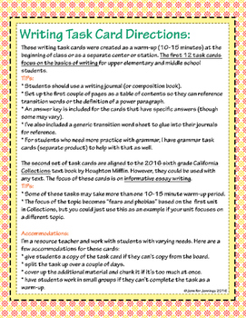 Writing Warm-Up Task Cards: Step-by-Step Review