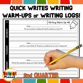 Writing Warm Ups or Writing Logs Homework, Writer's Workshop, Writing Centers