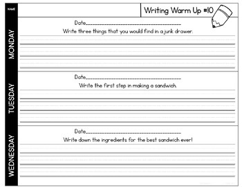 Quick Writes Daily Writing Worksheets 2nd Quarter