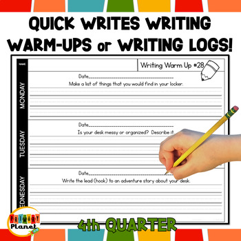 Writing Warm Ups  Writing Logs 4th Quarter Homework, Writer's Workshop