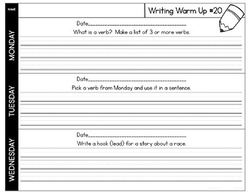 Writing Warm Ups or Writing Logs 3rd Quarter for Writer's Workshop or Homework