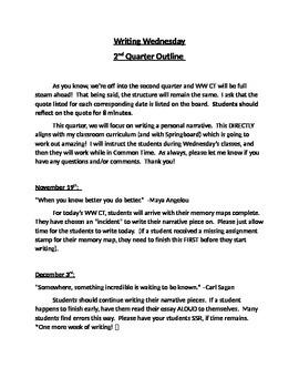 Writing Wednesday Curriculum Outline  - 2nd Quarter