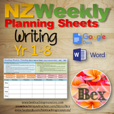 Writing Weekly Planning Sheets (NZ Writing Exemplars) Year 0-8