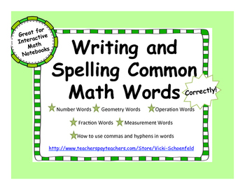 Writing and Spelling Math Words